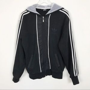 Adidas men's Track Jacket Black and White XL